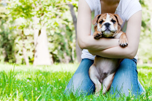 Young woman with her dog, focus on the dog